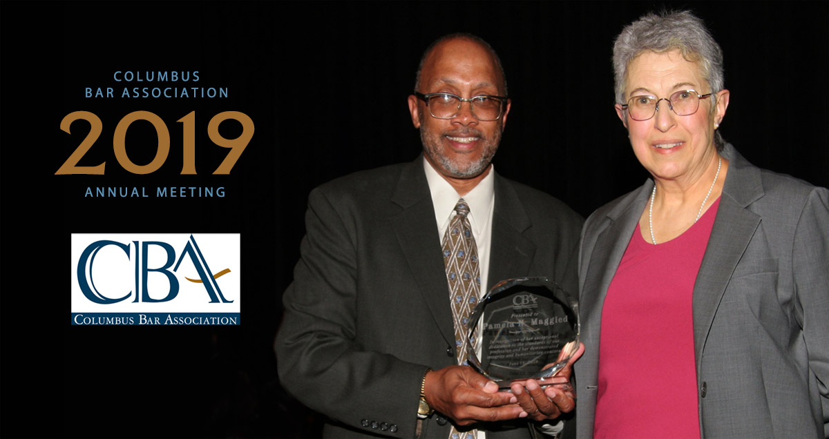 Photo of Pam Maggied receiving CBA 2019 Professionalism Award